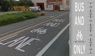 Signage on Newmarket Road - BUS AND CYCLE [SYMBOL] LANE presented next to approved marking of  BUS AND CYCLE [SYMBOL] ONLY